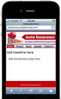 Auto Insurance Mobile Site Template PLR Template