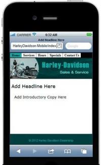 Harley Davidson Mobile Site Template PLR Template