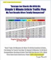 Simple 5 Minute Article Traffic Plan Mrr Video